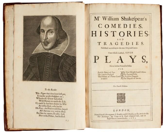 William Shakespeare, Mr. William Shakespeare's Comedies, Histories, and Tragedies. The Fourth folio, 1685. Estimate £12,000-15,000