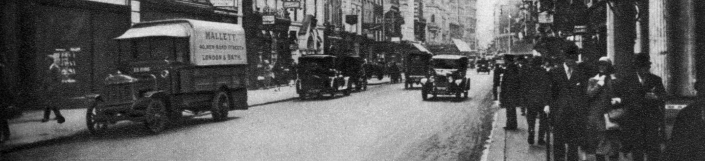 Looking south in New Bond Street, London, 1926-1927. From Wonderful London, volume II, edited by Arthur St John Adcock, published by Amalgamated Press (London, 1926-1927).