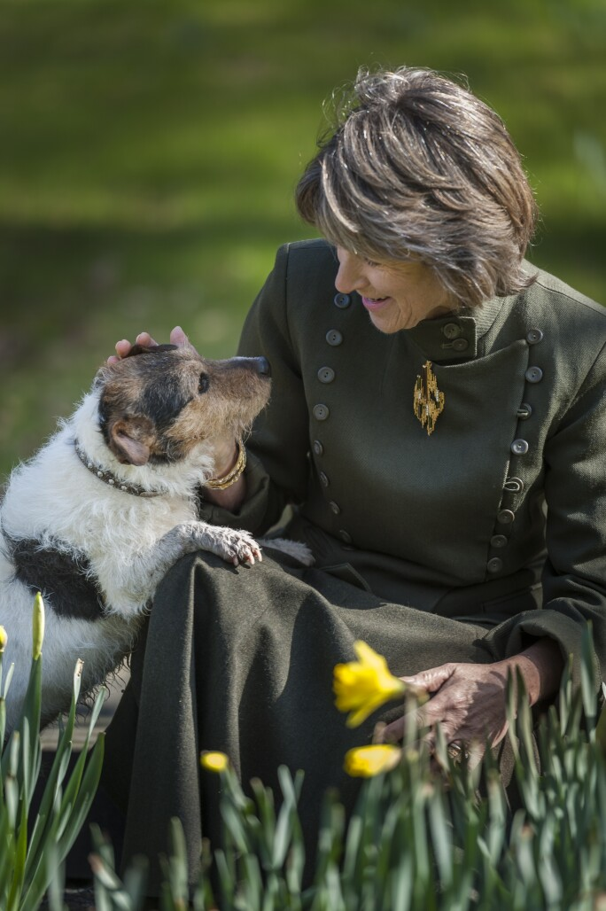 The Duchess and her dog Max, a mixed terrier. Credit Chatsworth House Trust.jpg