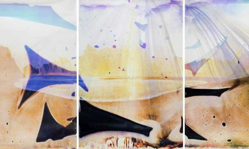Matthew Brandt, Lake Isabella CA TC 2, 2014, Three chromogenic prints soaked in Lake Isabella water, Each element: 91 13/16 x 65 in. Unique. Loan courtesy of Matthew Brandt and Yossi Milo Gallery. © Matthew Brandt.