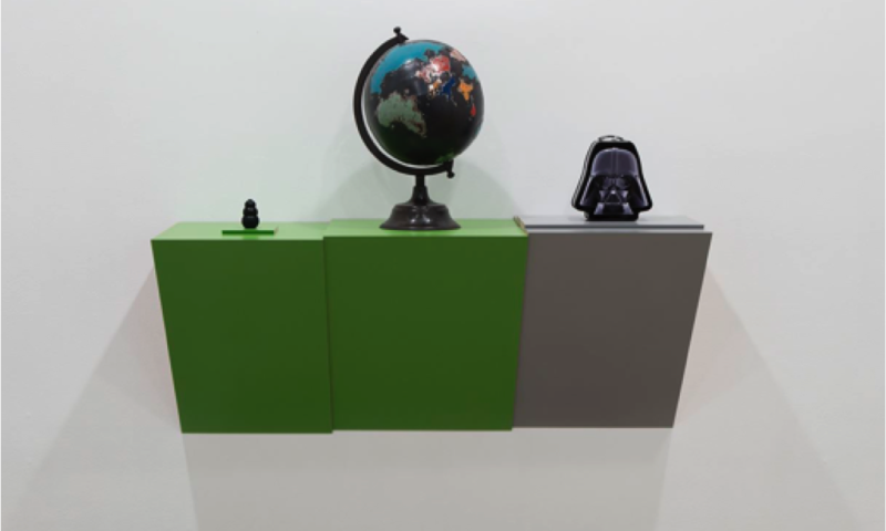 Haim Steinbach. Untitled (dog chew, globe, Darth Vader)