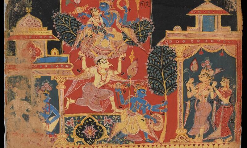Krishna Uprooting the Parijata Tree