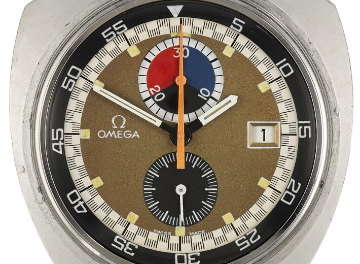 An Omega Bullhead dial in an auction selling Omega watches