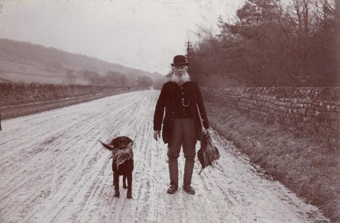 Chatsworth Gamekeeper Ben Stone with his gundog late1800s. Credit Devonshire Collection_.jpg