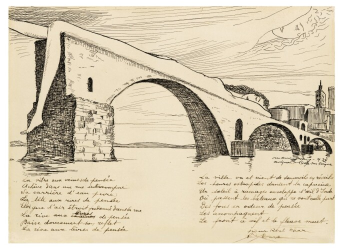 Drawing by Man Ray entitled Le Pont Brisé (Pont D'avignon).