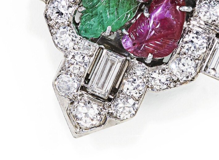 close-up tutti frutti diamond 1930s clip on earrings