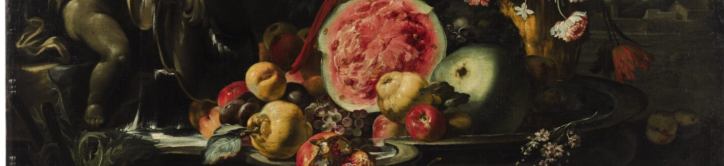 A still life painting of fruit in an auction selling antique paintings